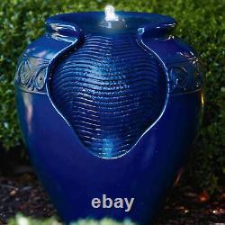 Peaktop Outdoor Garden Patio Blue LED Pot Water Fountain Feature YG0036AZ-UK