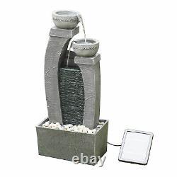 Peaktop Solar Power Water Fountain Garden Conservatory Ornament Grey PT-SF0005