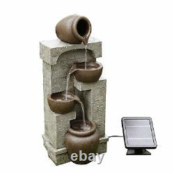 Peaktop Solar Power Water Fountain Garden Conservatory Ornament Stone PT-SF0004