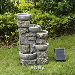 Peaktop Solar Power Water Fountain Garden Stone Ornament With Lights PT-SF0003