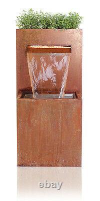 Planter Water Feature Fountain Cascade Waterfall Contemporary Corten Steel