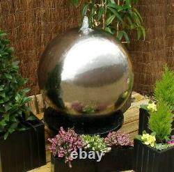 Polished Stainless Steel 75cm Sphere Water Feature Cascade Fountain Garden