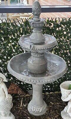 Poly 3 Tier Fountains Stone Wash Garden Water Feature Fountain Ornament Bird