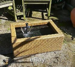 Pond Water Feature Fountain Patio Terrace Poly Rattan Brown Water Garden New