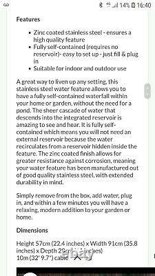 Primrose Blade Cascade Water Feature New In Box garden fountain stainless steel