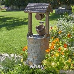 Primrose solar powered wishing well water feature for garden with bird new inbox