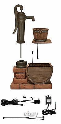 Pump & Barrel Vintange Style Water Feature Garden Fountain Outdoor