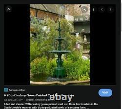 Rare Cast Iron 3 Tier 2.4m Water Feature Fountain Architectural Garden Antique