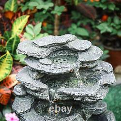 Rock Fall Solar Water Feature Cascading LED Fountain Stone Statue Outdoor Garden