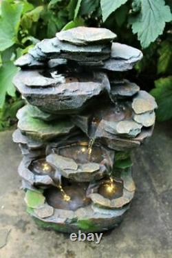Rocky Waterfall Tiered Outdoor Garden LED Light Fountain Water Feature Ornament