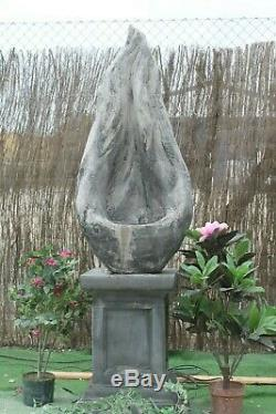 Self Contained Flame Water Fountain Feature Stone Garden Ornament Solar Pump