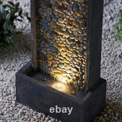 Serenity 68cm Pebble Water Feature Garden Fountain LED Indoor Outdoor Decor NEW