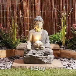 Serenity Buddha Garden Water Feature Fountain LED Self Contained 56cm Ornament
