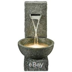 Serenity Cascade Bowl Water Feature LED 71cm Garden Patio Fountain Ornament NEW