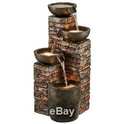 Serenity Cascade Bowls Water Feature LED 90cm Garden Patio Fountain Ornament NEW