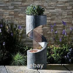 Serenity Cascade Spiral Water Feature Outdoor LED Patio Fountain Garden Planter