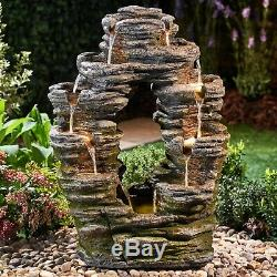 Serenity Double-Sided Rock Cascading Water Feature LED 79cm Garden Fountain NEW
