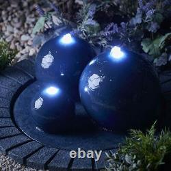 Serenity Garden 3 Bowl Sphere Water Feature LED Outdoor Patio Fountain 40cm NEW