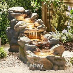 Serenity Garden 88cm Rock Pool Cascading Water Feature LED Outdoor Fountain NEW