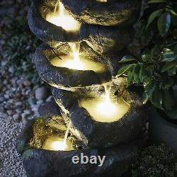 Serenity Garden 98cm Rock Pool Cascading Water Feature LED Outdoor Fountain NEW