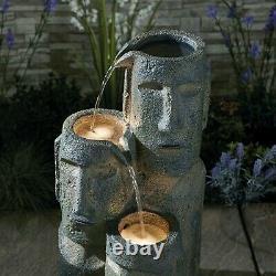 Serenity Outdoor Garden Fountain Island Head Statue Cascade Water Feature 73cm