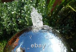 Silver Sphere Water Feature Fountain Cascade Contemporary Stainless Steel Garden