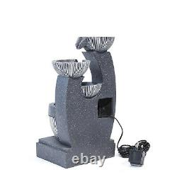 Slat Falls Woodland Water Feature Outdoor Garden LED Fountain 220V/Solar Powered