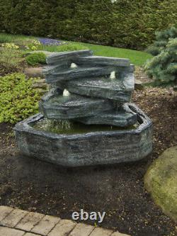 Slate Springs Fountain inc Lights Relic Lava Water Feature by Henri Studio