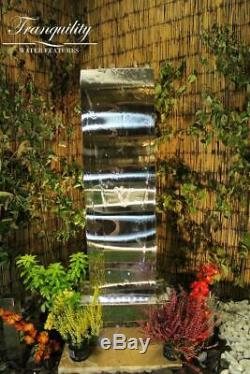 Small Stainless Steel Wave Modern Garden Water Feature, Outdoor Fountain