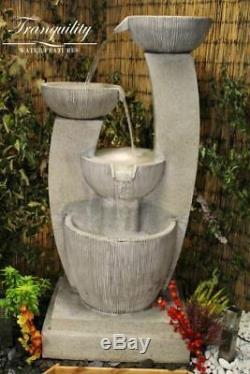 Small Venetian Contemporary Garden Water Feature, Solar Powered Outdoor Fountain
