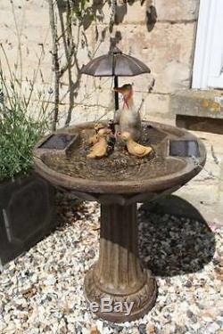 Smart Solar Garden Duck Family Umbrella Garden Water Feature Fountain Bird Bath