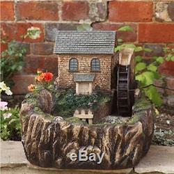 Smart Solar Powered Cascade Water Mill Fountain Feature Outdoor Garden Ornament