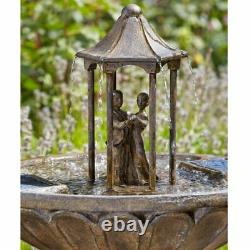 Smart Solar Powered Dancing Couple Fountain Garden Water Feature Outdoor Bronze