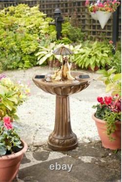 Smart Solar Powered Duck Family Fountain W Umbrella Outdoor Garden Water Feature