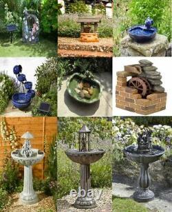 Smart Solar Powered Garden Fountain Water Feature Outdoor Waterfall Various Sun