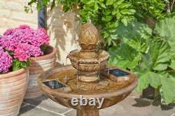 Smart Solar Powered Queensbury Fountain Stone Effect 3 Tier Water Feature