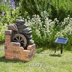 Smart Solar Powered Water Mill Cascade Fall Fountain Outdoor Feature 1170002