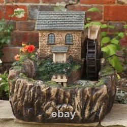 Smart Solar Self-Contained Water Mill House Garden Fountain Feature