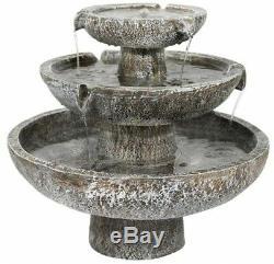 Solar Cascade 3 Tier Fountain Water Feature Garden Outdoor Ornament Decor