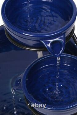 Solar Ceramic Water Feature Fountain with Battery Backup & LEDs Solaray Blue