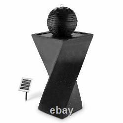 Solar Garden Fountain Sphere Water Feature Pump LED 200 l / h LED 2W Stand Black