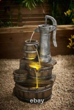 Solar Garden Water Pump Barrel Feature Fountain Light Statue Cascade Ornament/
