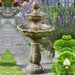 Solar Kingsbury 3 Tier Garden Water Feature Fountain Bird Bath