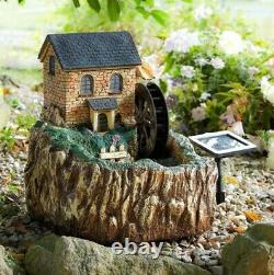 Solar LED Water Mill Water Fountain Feature Outdoor Garden