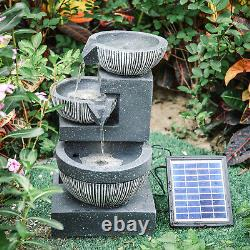 Solar Power Garden Fountain with LED Light Outdoor 3 Tier Water Feature Cascade