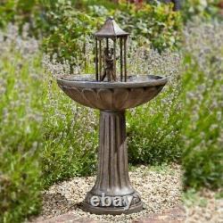 Solar Power Outdoor Dancing Couple Water Fountain Bird Bath Feature Garden Decor