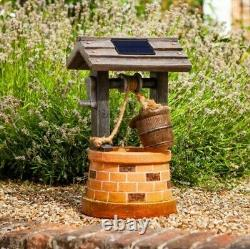 Solar Power Outdoor Wishing Well Water Fountain Bird Bath Feature Garden Decor