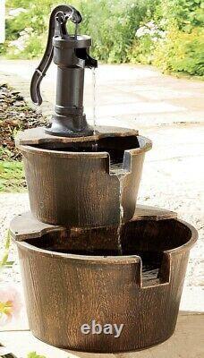 Solar Powered 2 Tier Barrel Fountain Garden Water Feature