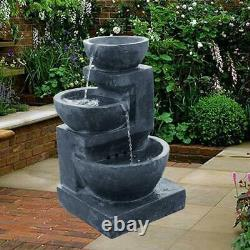 Solar Powered Charcoal Patio Garden Water Feature Fountain with LED Lights