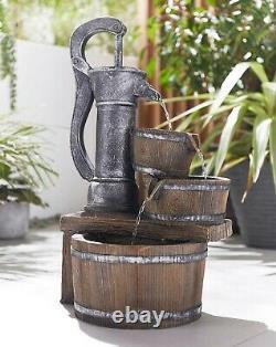 Solar Powered Fountain Pump Antique Rustic Garden Water Feature Outdoor
